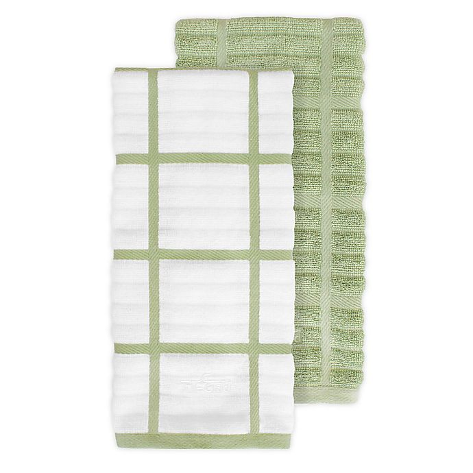 Alternate image 1 for All-Clad 2-Pack Solid/Plaid Kitchen Towels in Fennel