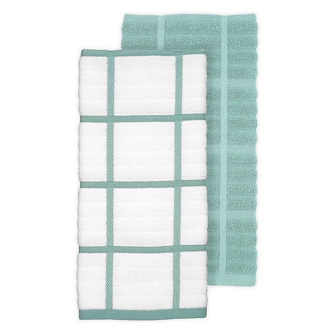 Alternate image 1 for All-Clad 2-Pack Solid/Plaid Kitchen Towels