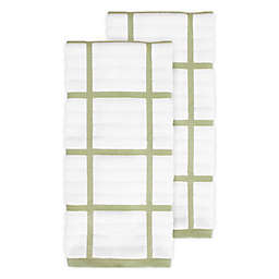 All-Clad Plaid Kitchen Towels in Fennel (Set of 2)