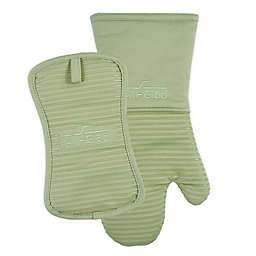 All-Clad 2-Piece Silicone Oven Mitt and Pot Holder Set in Fennel
