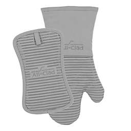 All-Clad 2-Piece Silicone Oven Mitt and Pot Holder Set in Titanium