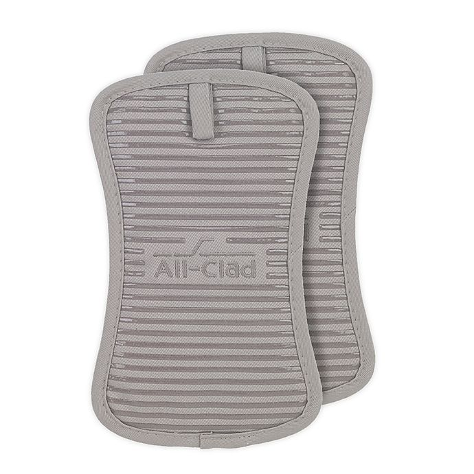 Alternate image 1 for All-Clad Silicone Pot Holders in Titanium (Set of 2)