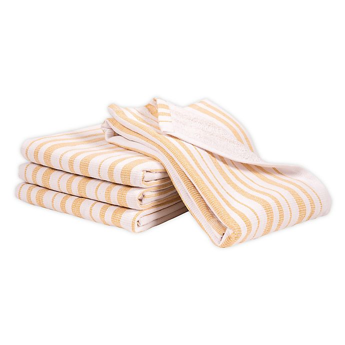 Alternate image 1 for Artisanal Kitchen Supply® Dual Purpose Stripe Kitchen Towels in Yellow (Set of 4)