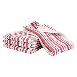 Artisanal Kitchen Supply® Dual Purpose Stripe Kitchen Towels in Red (Set of 4)