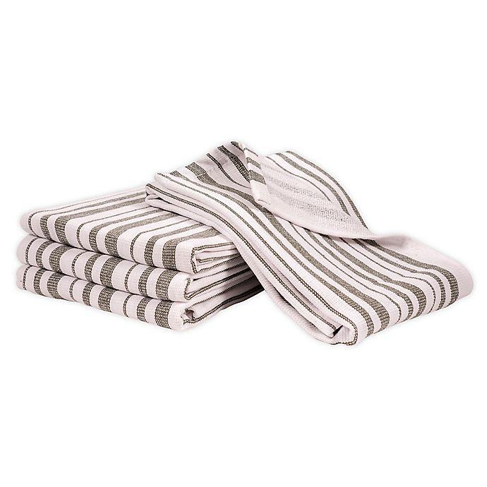 Alternate image 1 for Artisanal Kitchen Supply® Dual Purpose Stripe Kitchen Towels in Green (Set of 4)