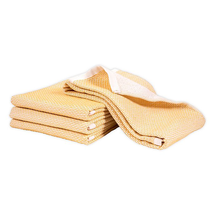 Alternate image 1 for Artisanal Kitchen Supply® Dual Purpose Pique Kitchen Towels in Yellow (Set of 4)