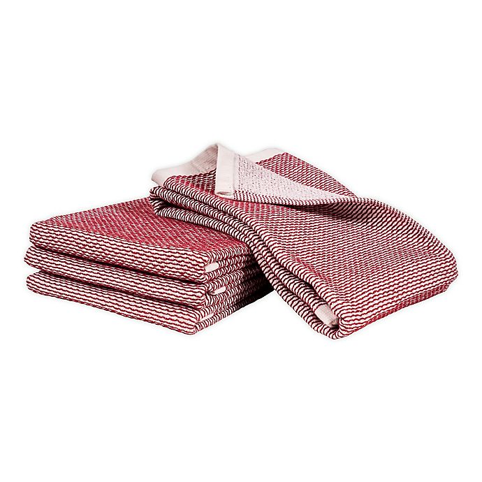 Alternate image 1 for Artisanal Kitchen Supply® Dual Purpose Pique Kitchen Towels in Red (Set of 4)