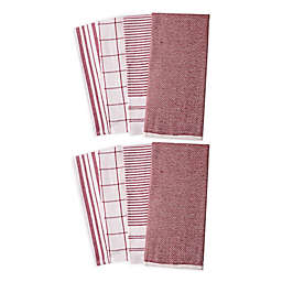 Artisanal Kitchen Supply® Dual Purpose Kitchen Towels in Red (Set of 8)