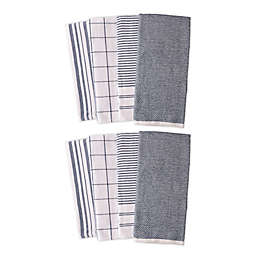 Artisanal Kitchen Supply® Dual Purpose Kitchen Towels in Navy (Set of 8)