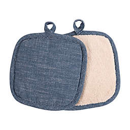 Artisanal Kitchen Supply® Pot Holders in Navy (Set of 2)