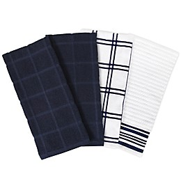 KitchenSmart® Colors 4-Pack Solid/Plaid Kitchen Towels