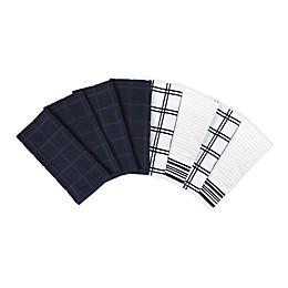 KitchenSmart® Colors 8-Pack Solid/Plaid Kitchen Towels