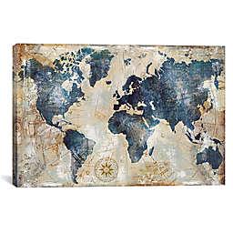 iCanvas World Map Indigo Canvas Wall Art