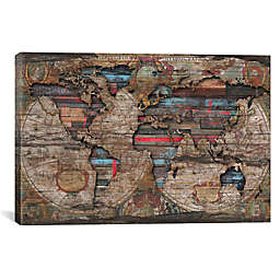 iCanvas Diego Tirigall Distressed World Map Canvas Wall Art