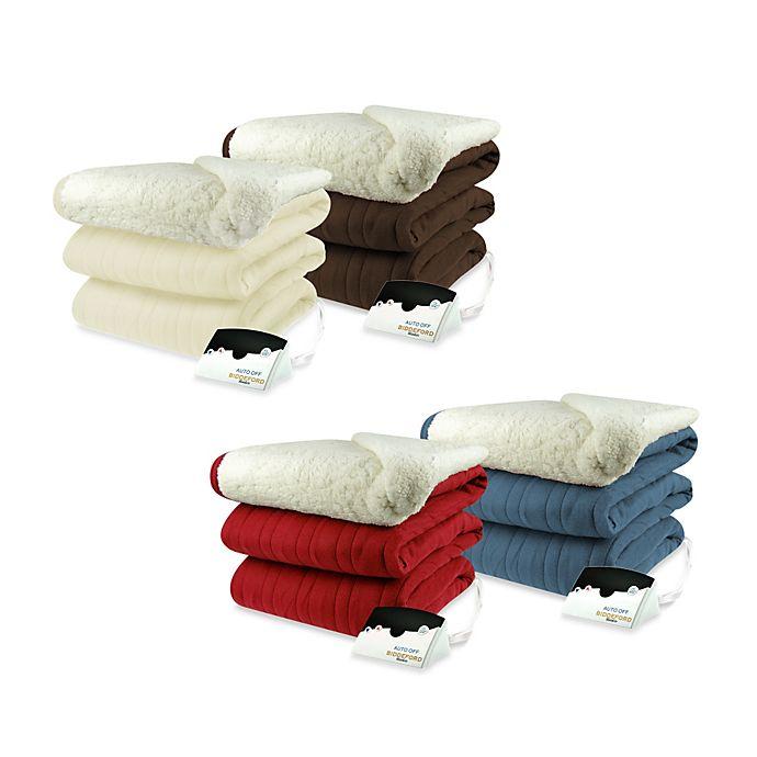 Biddeford Blankets Comfort Knit Heated Blanket With Sherpa Back Bed Bath Beyond