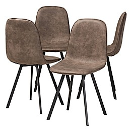 Baxton Studio Juliane Dining Chairs in Grey/Brown (Set of 4)