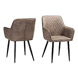 Baxton Studio Jane Dining Chairs in Brown/Grey (Set of 2)