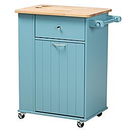 Baxton Studio Diane Kitchen Storage Cart in Sky Blue/Natural