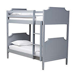 Baxton™ Studio Victoria Twin Size Bunk Bed in Grey