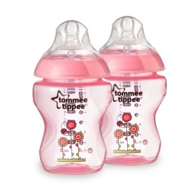 Tommee Tippee closer to nature pink baby bottles 2 9 oz bottles new