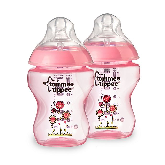 Alternate image 1 for Tommee Tippee Closer to Nature 2-Pack 9 oz. Decorated Baby Bottles in Pink