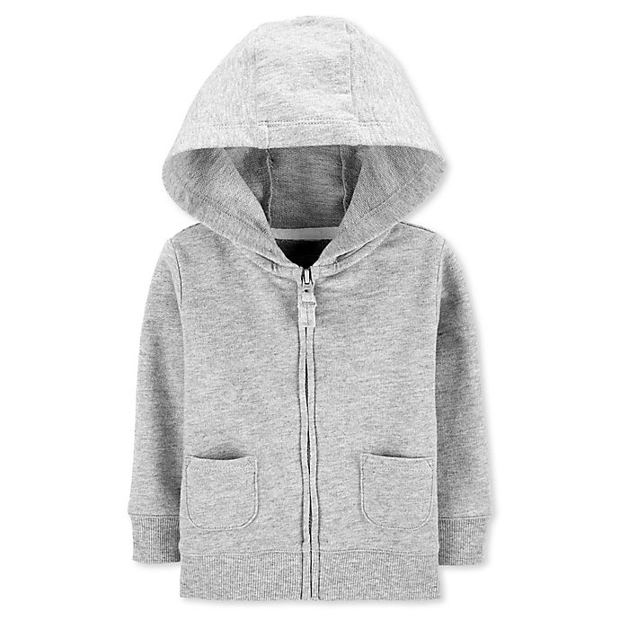 Alternate image 1 for carter's® Zip-Front French Terry Hoodie in Heather