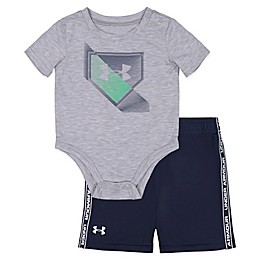 Under Armour® 2-Piece Base Logo Bodysuit and Short Set in Grey