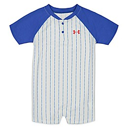 Under Armour® Baseball Blue Stripe Romper in White