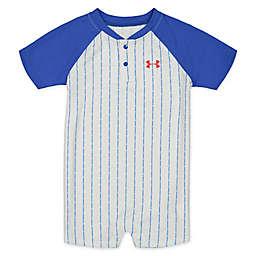 Under Armour® Baseball Blue Stripe Romper in White