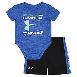 Under Armour® 2-Piece Logo Bodysuit and Short Set in Blue
