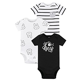 Lamaze® 3-Pack Bunny Organic Cotton Bodysuits in Black/White