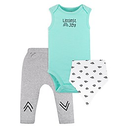 Lamaze® 3-Piece Littlest Joy Organic Cotton Bodysuit, Pant, and Bib Set in Mint/Grey