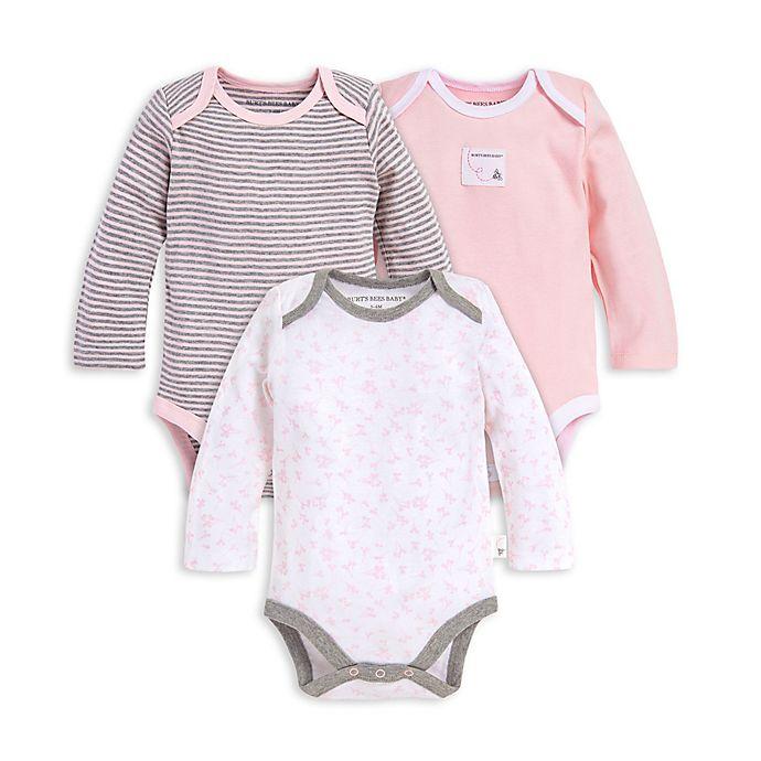 Alternate image 1 for Burt's Bees Baby® Preemie 3-Pack Dusty Dandelions Organic Cotton Long Sleeve Bodysuits