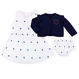 Lamaze® 3-Piece Organic Cotton Dress, Cardigan and Bloomer Set in Cobalt Blue