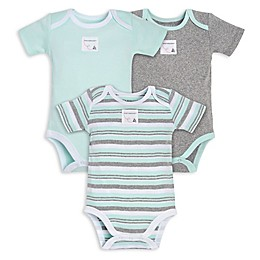 Burt's Bees Baby® 3-Pack Sixties Stripe Organic Cotton Bodysuits in Mint/Grey