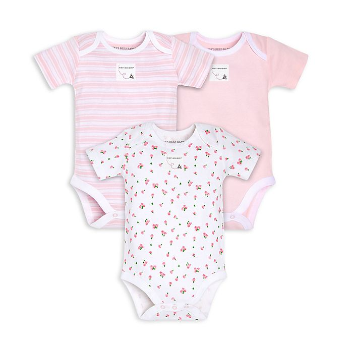 Alternate image 1 for Burt's Bees Baby® Size 12M 3-Pack Tossed Tulips Organic Cotton Bodysuits in Blossom