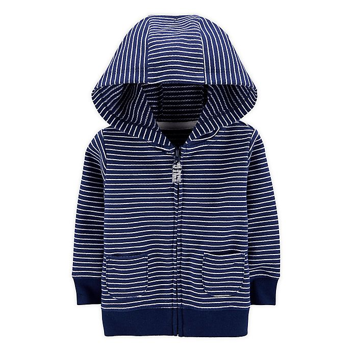 Alternate image 1 for carter's® Striped Zip-Front French Terry Hoodie