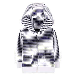 carter's® Newborn Striped Zip-Front French Terry Hoodie in White/Navy