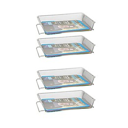Mind Reader Stackable Letter Trays in Silver (Set of 4)