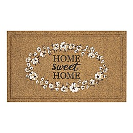 """Mohawk Home® Home Sweet Home Cotton Pattern 18"""" x 30"""" Door Mat in Tan/White"""