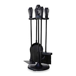 UniFlame® 5-Piece Spring Handle Fireplace Tool Set in Black