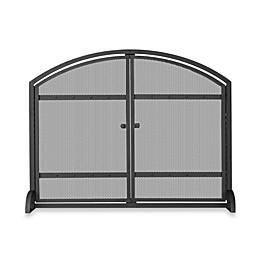UniFlame® Single-Panel Iron Fireplace Screen in Black