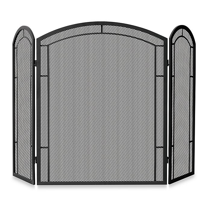 Alternate image 1 for UniFlame® 3-Fold Iron Fireplace Screen in Black