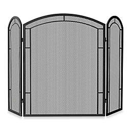 UniFlame® 3-Fold Iron Fireplace Screen in Black