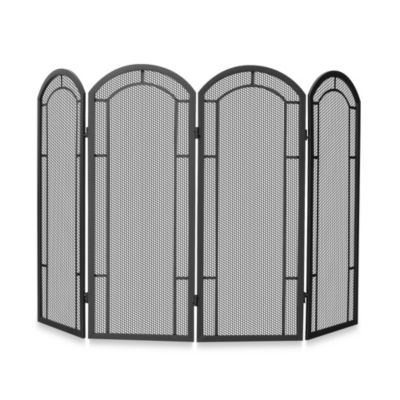 Uniflame 174 4 Fold Iron Fireplace Screen In Black Bed Bath