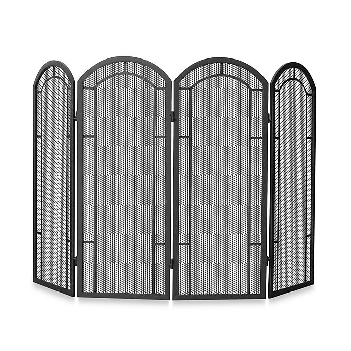 Alternate image 1 for UniFlame® 4-Fold Iron Fireplace Screen in Black