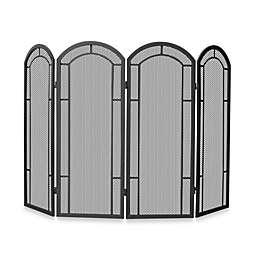 UniFlame® 4-Fold Iron Fireplace Screen in Black