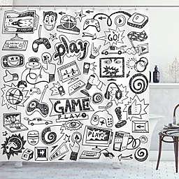 Gamer 69-Inch x 75-Inch Shower Curtain in White/Black