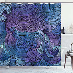 Waves 69-Inch x 70-Inch Shower Curtain in Purple/Blue