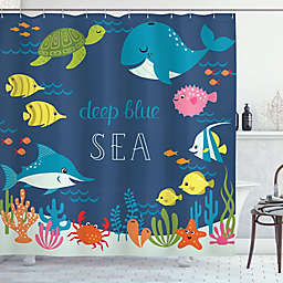 Under The Sea 69-Inch x 84-Inch Shower Curtain in Blue